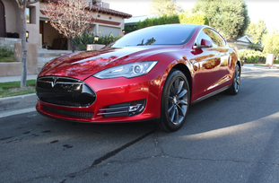 paint protection film on red tesla
